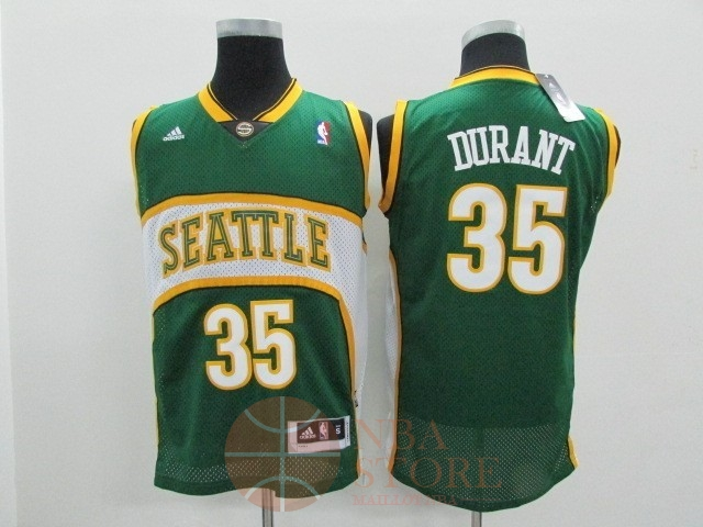 Classic Maillot NBA Seattle Supersonics NO.35 Kevin Durant Vert
