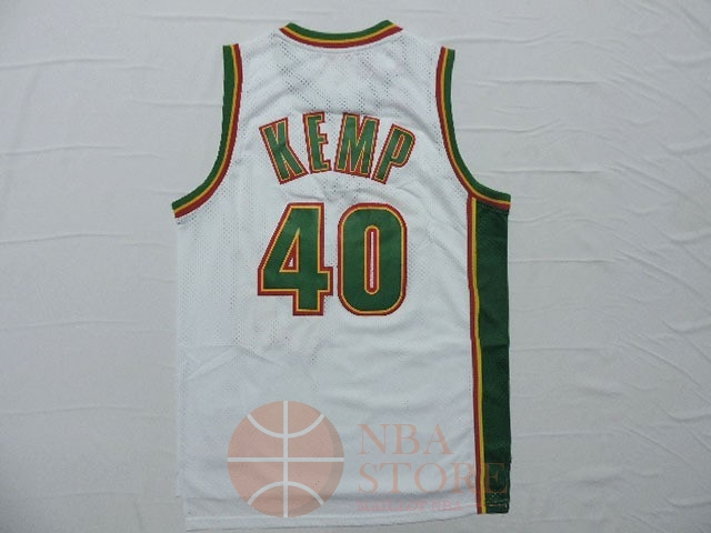 Classic Maillot NBA Seattle Supersonics NO.40 Shawn Kemp Retro Blanc