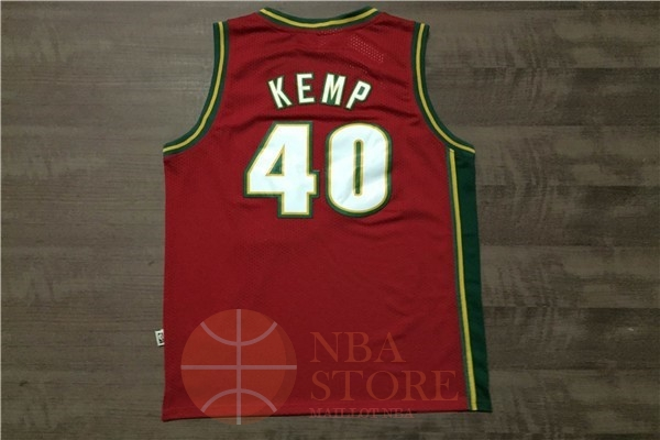 Classic Maillot NBA Seattle Supersonics NO.40 Shawn Kemp Retro Rouge