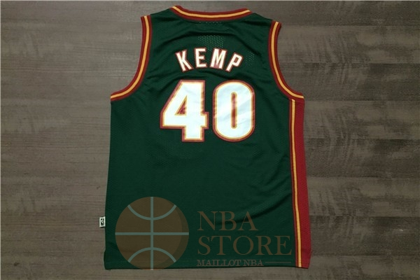 Classic Maillot NBA Seattle Supersonics NO.40 Shawn Kemp Retro Vert