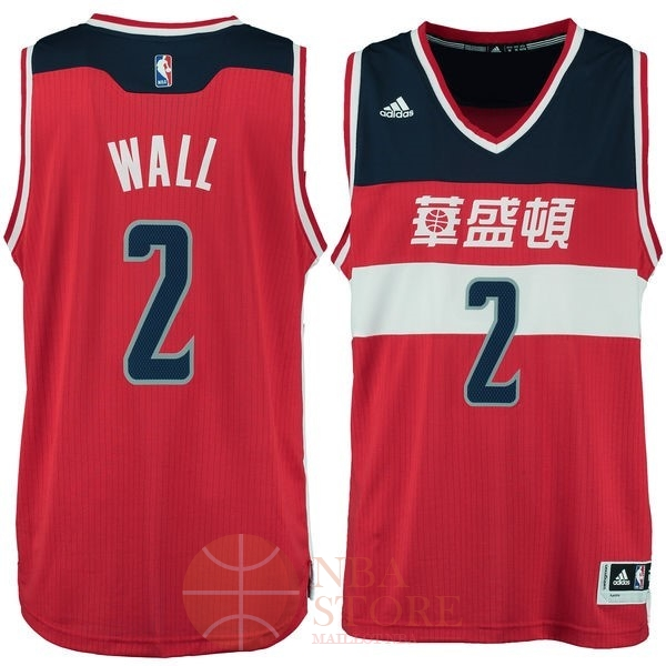 Classic Maillot NBA Washington Wizards NO.2 John Wall Washington Rouge