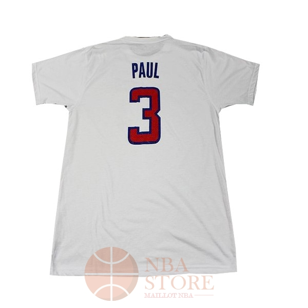 Classic Maillot NBA Los Angeles Clippers Manche Courte NO.3 Paul Blanc