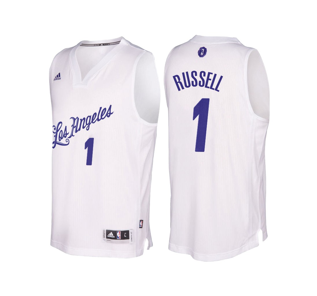 Classic Maillot NBA Los Angeles Lakers 2016 Noël NO.1 D'Angelo Russell Blanc
